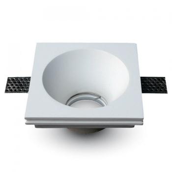 Γύψινο χωνευτό φωτιστικό Spot GU10 Τετράγωνο Λευκό σώμα V-TAC 3653