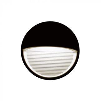 Επιτοίχιο φωτιστικό LED σκάλας 3W Στρογγυλό Μαύρο 3000K Θερμό λευκό IP65 vtac 1404