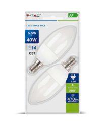 Λάμπα LED E14 Κερί SMD 5.5W Θερμό λευκό 2700K Λευκό Blister 2 τμχ. 7291