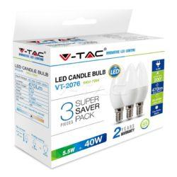 Λάμπα LED E14 Κερί SMD 5.5W Θερμό λευκό 2700K Λευκό Blister 3 τμχ. 7263