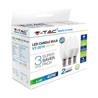 Λάμπα LED E14 Κερί SMD 5.5W Λευκό 6400K Λευκό Blister 3 τμχ 7265