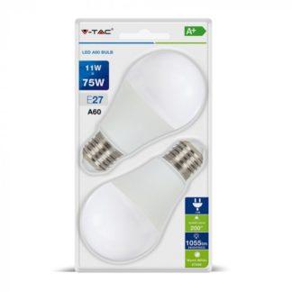 Λάμπα LED E27 A60 SMD 11W Θερμό λευκό 2700K Λευκό Blister 2 τμχ. 7297