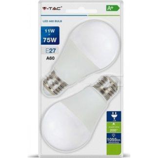 Λάμπα LED E27 A60 SMD 11W Λευκό 6400K Λευκό Blister 2 τμχ 7299