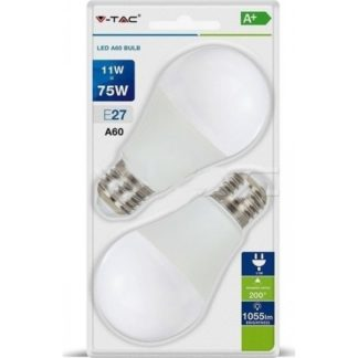 Λάμπα LED E27 A60 SMD 11W Φυσικό λευκό 4000K Λευκό Blister 2 τμχ 7298