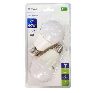 Λάμπα LED E27 A60 SMD 9W Λευκό 6400K Λευκό Blister 2 τμχ. 7296
