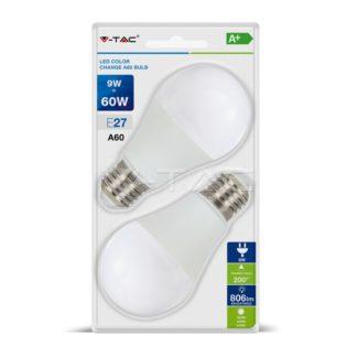 Λάμπα LED E27 A60 SMD 9W Φυσικό λευκό 4000K Λευκό Dimmable 3 βημάτων Blister 2 τμχ 7289