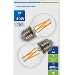 Λάμπα LED E27 G45 Cross Filament 4W Θερμό λευκό 2700K Γυαλί διάφανο Blister 2 τμχ 7367