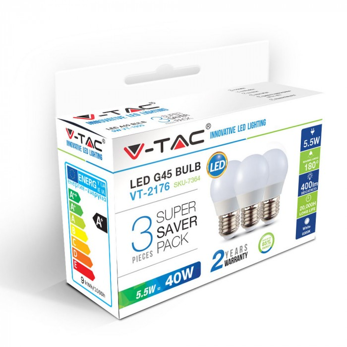 Λάμπα LED E27 G45 SMD 5.5W Φυσικό λευκό 4000K Λευκό Blister 3 τμχ. 7363
