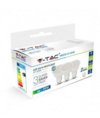 Λάμπα LED Spot GU10 SMD 5W Λευκό 6400K Λευκό Blister 3 τμχ. 7271