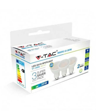 Λάμπα LED Spot GU10 SMD 5W Φυσικό λευκό 4000K Λευκό Blister 3 τμχ. 7270