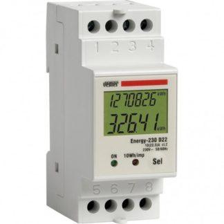 Μονοφασικός ψηφιακός μετρητής KWH ENERGY 230 D22 VEMER με οθόνη LCD 308-003444000