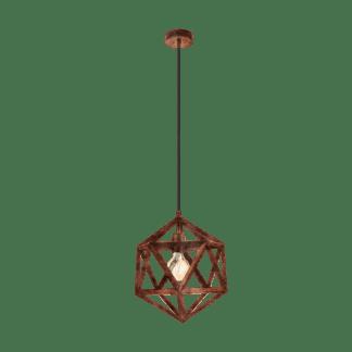 Κρεμαστό μεταλλικό φωτιστικό αντικέ χρώμα χάλκινο EMBLETON 49797