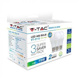 Λάμπα LED E27 A60 SMD 11W Λευκό 6400K Λευκό Blister 3 τμχ. 7354