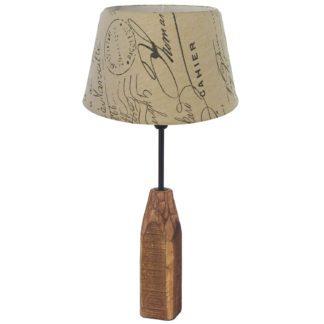 Επιτραπέζιο φωτιστικό RINSEY 49665 καφέ ξύλο & κάλυμμα από μπεζ ύφασμα