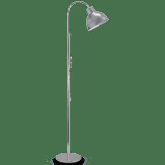 Μεταλλικό φωτιστικό δαπέδου BOLEIGH E27 ασημί αντικέ με διακόπτη ποδιού 49334