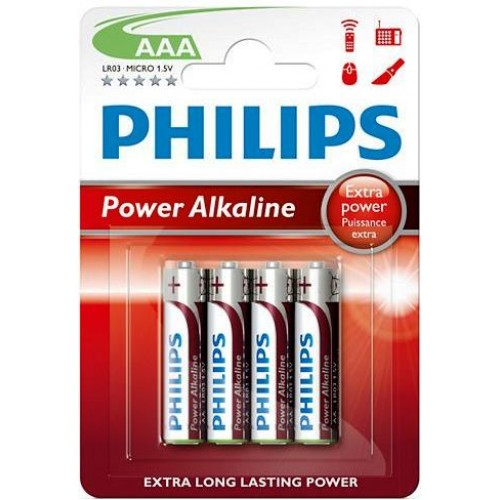 Μπαταρίες PHILIPS Power Alkaline AAA 1,5V POWERLIFE 4τεμ LR03P4B