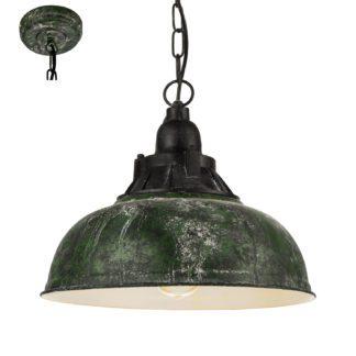 Φωτιστικό Κρεμαστό Μονόφωτο Φ37 Σε Αντικέ Πράσινο Grantham1 49735