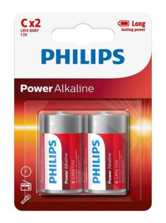 Philips Power Alkaline Αλκαλικές Μπαταρίες LR14 C 1,5V POWERLIFE 2 τεμάχια, LR14P2B
