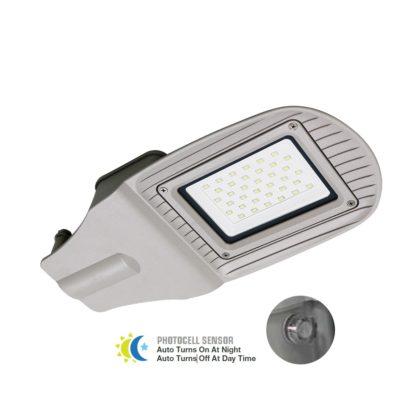 Φωτιστικό δρόμου LED 50W Λευκό 6400K με γκρι σώμα και αισθητήρα μέρας-νύχτας (5494)