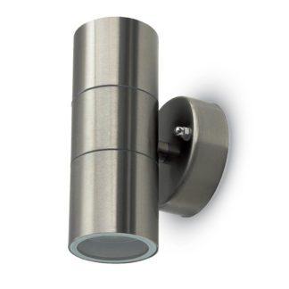 Εξωτερικό επιτοίχιο φωτιστικό 2 x GU10 Στρογγυλό Stainless Steel Brush σώμα 7500