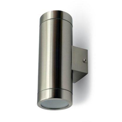 Εξωτερικό επιτοίχιο φωτιστικό 2 x GU10 Στρογγυλό Stainless Steel Brush σώμα 7507
