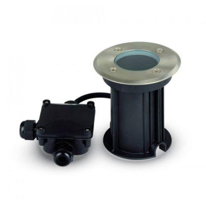 Εξωτερικό χωνευτό φωτιστικό GU10 Στρογγυλό Μαύρο & ασημί σώμα (7515)