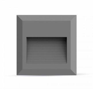 Επιτοίχιο φωτιστικό LED σκάλας 2W Τετράγωνο Γκρι 3000K Θερμό λευκό IP65 (1325)