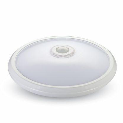 LED πλαφονιέρα-απλίκα με αισθητήρα κίνησης 12W Στρογγυλό 4500K Φυσικό λευκό Λευκό σώμα (5058)