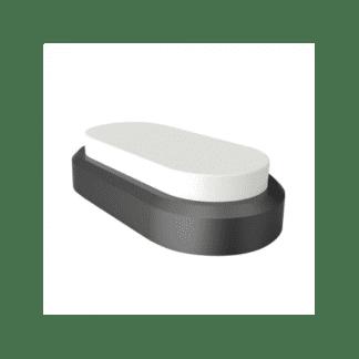 LED πλαφονιέρα-απλίκα 8W Οβάλ 3000K Θερμό λευκό φως Μαύρο με λευκό σώμα (1308)