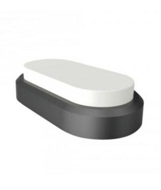 LED πλαφονιέρα-απλίκα 8W Οβάλ 6400K Ψυχρό Λευκό φως Μαύρο με λευκό σώμα (1310)