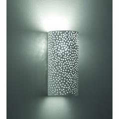 Απλίκα από γύψο διάτρητη, σωλήνας, σε λευκό με ντουί Ε14, Y24cm, VK 64174-233131 3