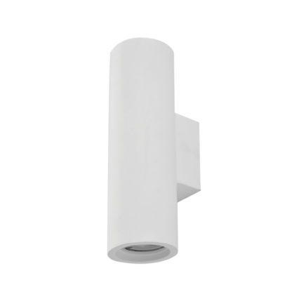 Απλίκα γύψινη κυλινδρική σε λευκό, με ντουί G10x2, Y25,5cm, VK64174-237131
