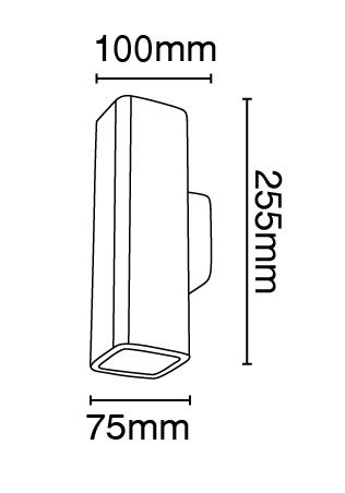 Απλίκα γύψινη τετραγωνική σε λευκό, με ντουί G10x2, Y25,5cm, VK64174-238131 2