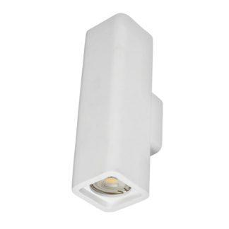 Απλίκα γύψινη τετραγωνική σε λευκό, με ντουί G10x2, Y25,5cm, VK64174-238131