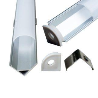 Προφίλ αλουμινίου για ταινίες LED γωνιακό λεπτό 2m συσκευασία 2τμχ. V-TAC 99572