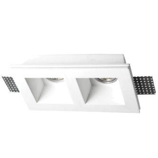 Φωτιστικό γύψινο χωνευτό ορθογώνιο λευκό 2ΧGU10 VK 64174-225131