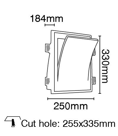 Φωτιστικό τοίχου γύψινο χωνευτό τετράγωνο λευκό, E14, VK 64174-239131 2