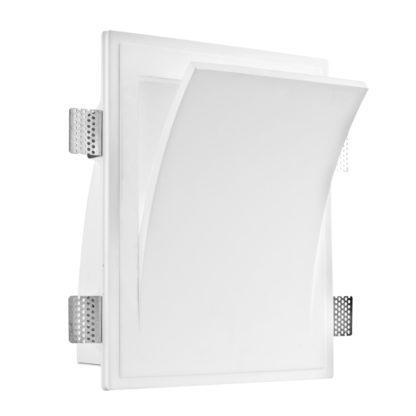 Φωτιστικό τοίχου γύψινο χωνευτό τετράγωνο λευκό, E14, VK 64174-239131