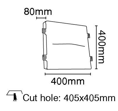 Φωτιστικό τοίχου γύψινο χωνευτό τετράγωνο λευκό, G9, VK64174-240131 2