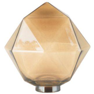Φωτιστικό set Vintage γυάλινο φιμέ πολυγωνικό 135x135mm +αντάπτωρας Ε27-Ε14 +διακοσμητική λάμπα fillament 4W EL825121