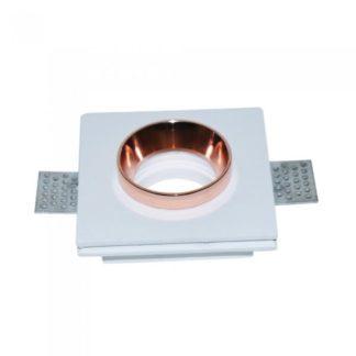 Χωνευτό φωτιστικό Spot GU10 Γύψινο Τετράγωνο με σώμα λευκό & ροζ χαλκός V-TAC 3150