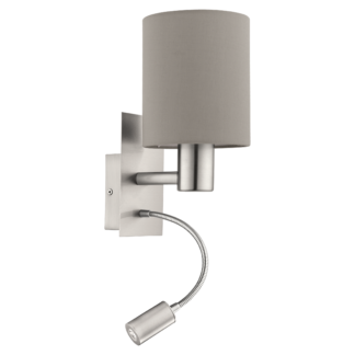 Απλίκα Ø15cm Χρώμα Τέφρας (taupe) Με Βοηθητικό Φως LED 3,5W Pasteri 96478