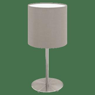 Επιτραπέζιο φωτιστικό από ματ νίκελ ατσάλι & καπέλο από ύφασμα σε χρώμα τέφρας με διακόπτη στο καλώδιο PASTERI 31595