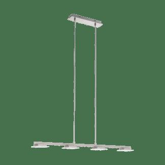 Κρεμαστό Φωτιστικό LED 4x5,5W, μήκους 95cm, Σε Σατινέ Νίκελ Τετράγωνο Σχέδιο LANIENA 97085