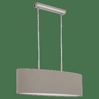 Κρεμαστό φωτιστικό δίφωτο 2Χ60W, μήκους 75cm, από ματ νίκελ ατσάλι & καπέλο από ύφασμα σε χρώμα τέφρας PASTERI 31581