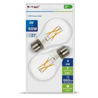 Λάμπα LED E27 A60 Cross Filament 6W Θερμό λευκό 2700K Γυαλί διάφανο Blister 2τμχ. V-TAC 7368