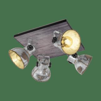 Απλίκα-πλαφονιέρα σποτ τετράφωτη μέταλλο & ξύλο EGLO BARNSTAPLE 49653