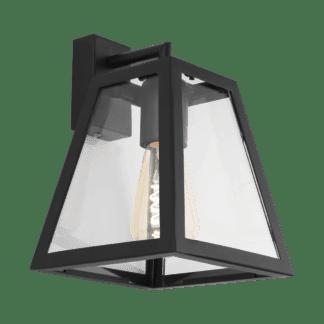 Απλίκα industrial, μέταλλο μαύρο & διάφανο γυαλί EGLO AMESBURY 1 49889