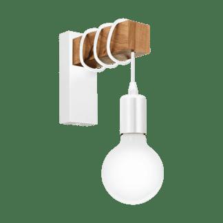 Απλίκα vintage, χρώμα φυσικού ξύλου & λευκό EGLO TOWNSHEND 33162