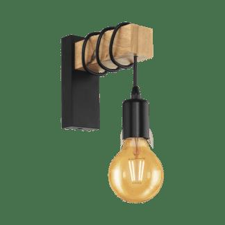 Απλίκα vintage χρώμα φυσικού ξύλου & μαύρο EGLO TOWNSHEND 32917